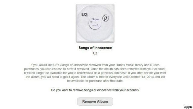 Удалить альбом U2