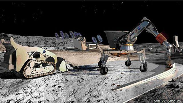 Diseño de cómo se vería la construcción con Contour crafting en Marte
