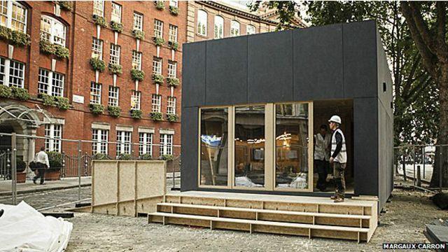 Casa de Wikihouse levantada en Londres durante el Festival de diseño 2014