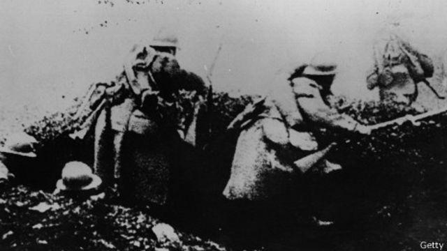 En las trincheras, en la Primera Guerra Mundial