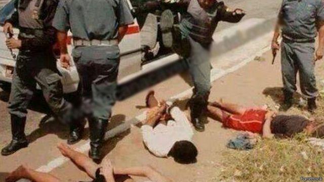Uma das imagens postadas e compartilhadas em páginas que pregam violência contra criminosos