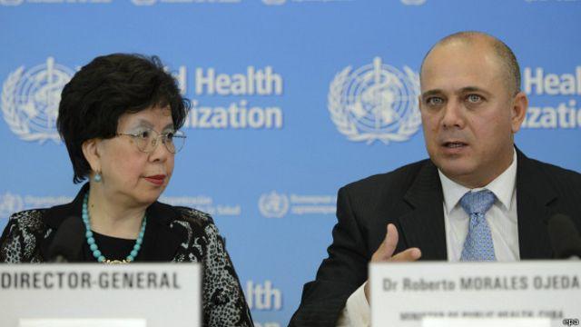 Margaret Chan y Roberto Morales