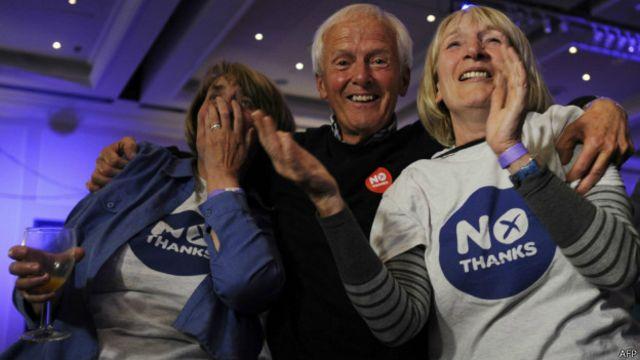 """根据目前苏格兰公投的点票结果,""""反对""""阵营赢得公投。"""
