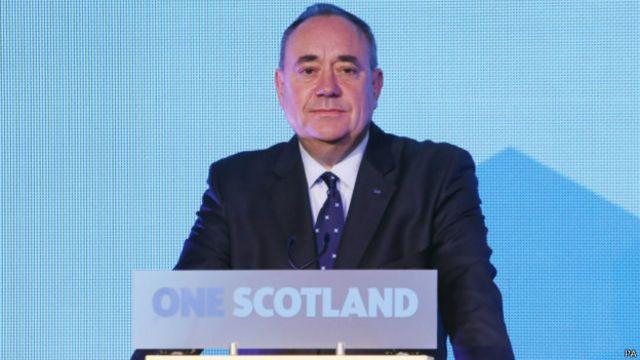 """萨蒙德在爱丁堡发表演说:""""(我)接受了人民的决定,并号召苏格兰接受苏格兰人民透过民主选举所做出的裁决。"""""""