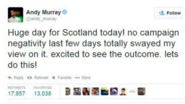 Tuíte de Murray diz que resolveu apoiar o Sim pelo negativismo da campanha do Não