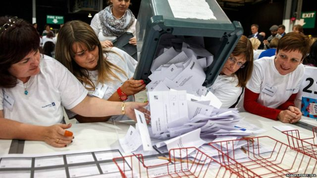 苏格兰独立公投周四晚10点截止投票,32个选区陆续公布点票结果。