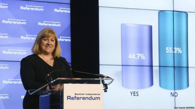 苏格兰公投首席点票官皮凯斯利宣布最后结果。