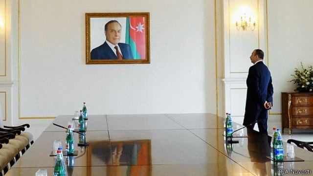 Ильхам Алиев и портрет Гейдара Алиева
