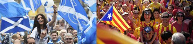 Partidarios de la consulta soberanista en Cataluña y de la independencia escocesa