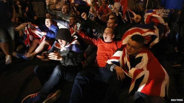 Grupos pró-Reino Unido / Crédito: Reuters