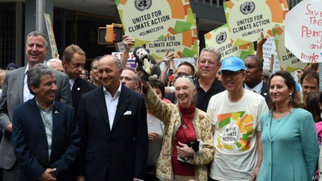 Ban Ki-moon, Jane Goodall, Al Gore e Segolene Royal em manifestação em Nova York | Foto: AFP