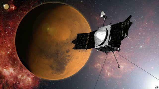 Fotomontaje de la Maven en Marte