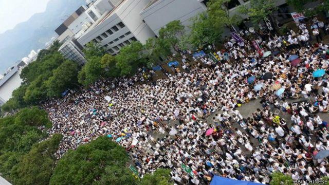 香港罢课大专学生聚集在香港中文大学