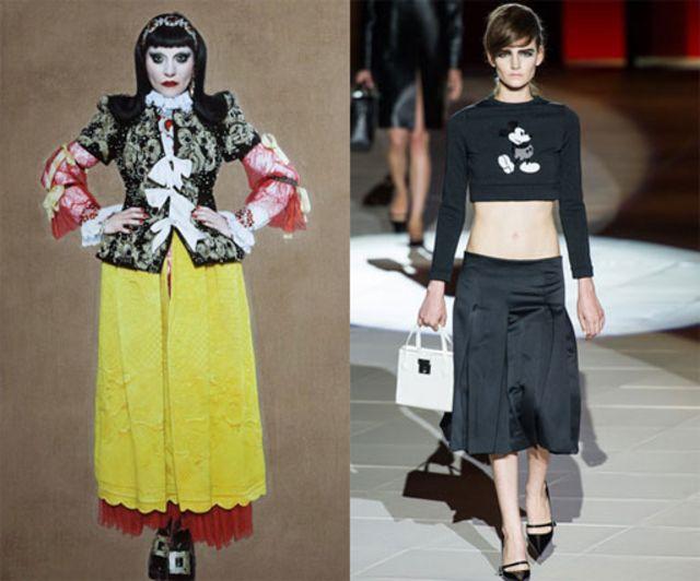 """英国国家肖像美术馆的作品""""碰撞""""《穿密海姆•克希霍夫的朱丽娅》和时装周亮点雅各布斯米奇卫衣(右)"""