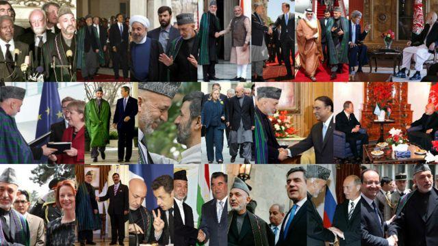 """آقای کرزی در سالهای حکومت خود سفرهای زیادی کرد و با رهبران کشورهای مختلف با این تعریف که """"دوستی افغانستان با یک کشور، ضرری به روابط آن به کشور سومی"""" ندارد، روابط برقرار کرد."""
