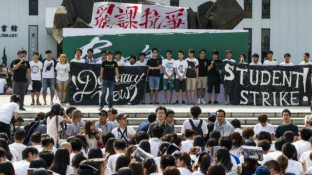 Mahasiswa menggelar aksi di Hong Kong