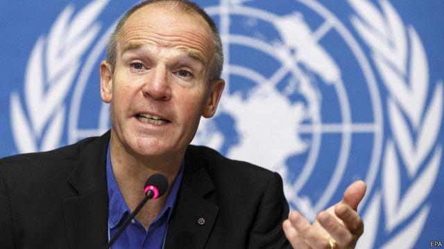 Christopher Dye, directeur de la stratégie à l'OMS, lors d'une conférence de presse à Genève en Suisse, le 22 September 2014.