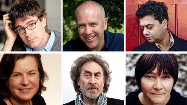 نامزدان جایزه ادبی بوکر (از چپ به راست از ردیف بالا)  جاشوا فریز، ریچارد فلاناگان، نیل موخرجی، الی اسمیت، هاوارد جاکوبسون، کارن جوی فاولر