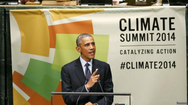 美国总统奥巴马在联合国气候峰会上