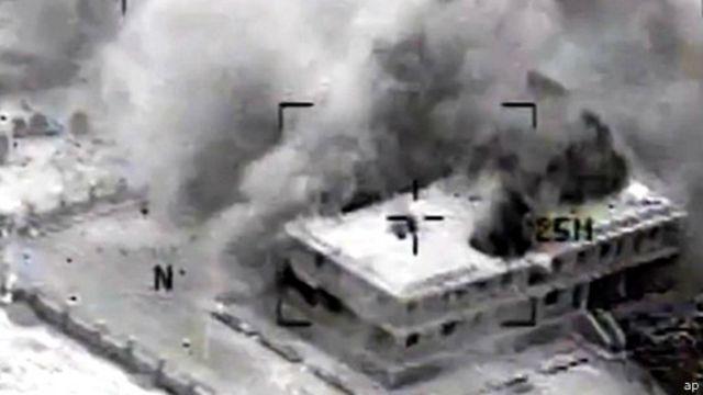 صور البنتاغون تبين أثر الغارات التي شنت على مقار تنظيم الدولة الإسلامية.
