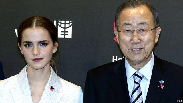 Atriz Emma Watson, ao lado do secretário-geral da ONU Ban Ki Moon
