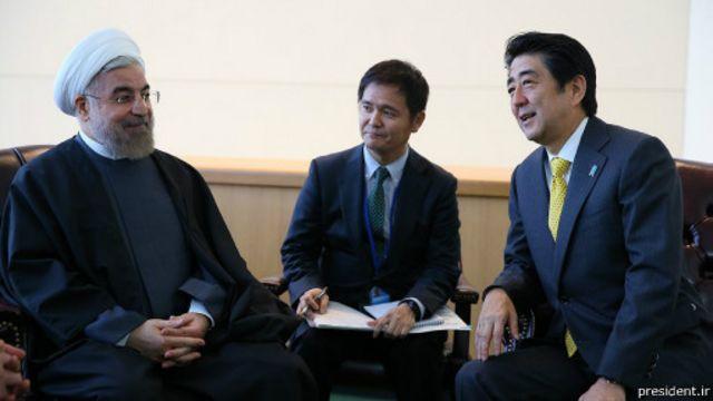 روحانی و شینزوا آبه، نخست وزیر ژاپن