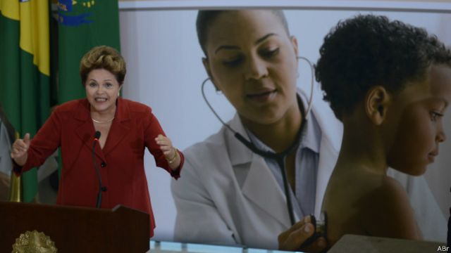 A presidente Dilma Rousseff durante o lançamento do Mais Médicos