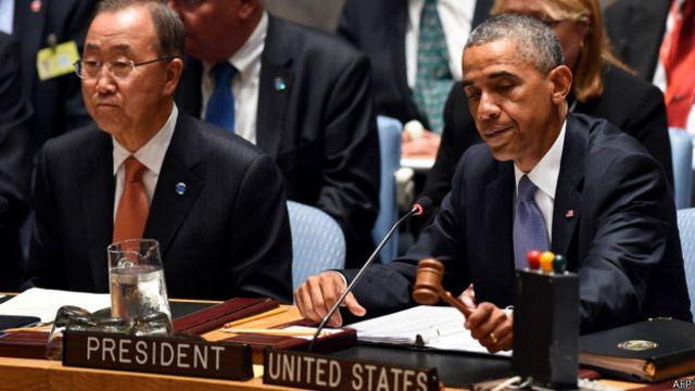 安理会会议在美国总统奥巴马主持下进行。