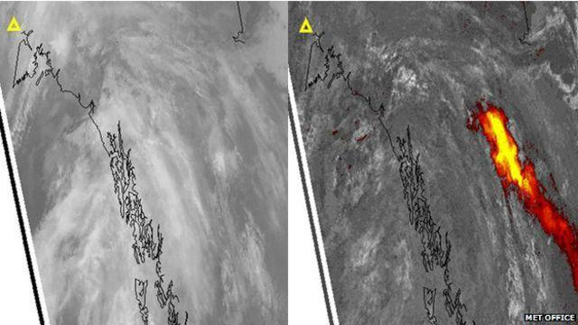 Imagen infrarroja de nube de cenizas volcánicas.