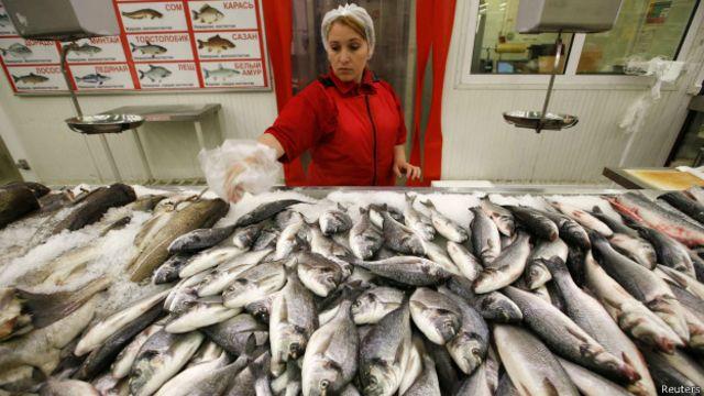Рыбный отдел магазина Ашан в Москве