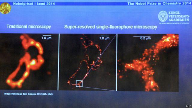 Pengamatan miskroskopik sebelum dan sesudah penemuan ketiga ilmuwan pemenang Nobel 2014.