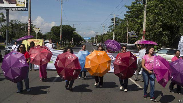 Marcha de protesta por la prohibición del aborto en Nicaragua.