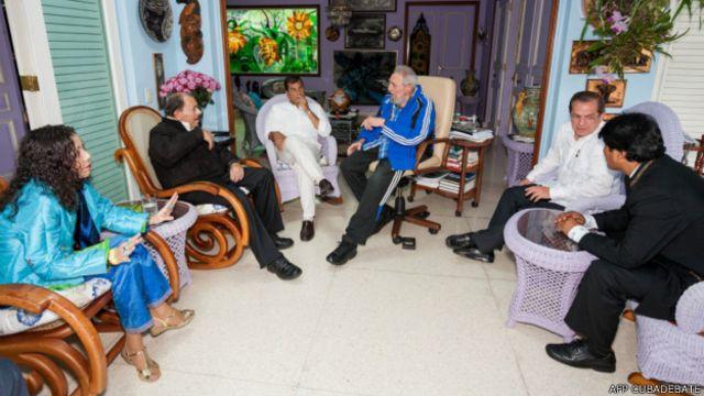 Fidel Castro con los presidentes de Nicaragua, Ecuador y Bolivia en enero de 2014