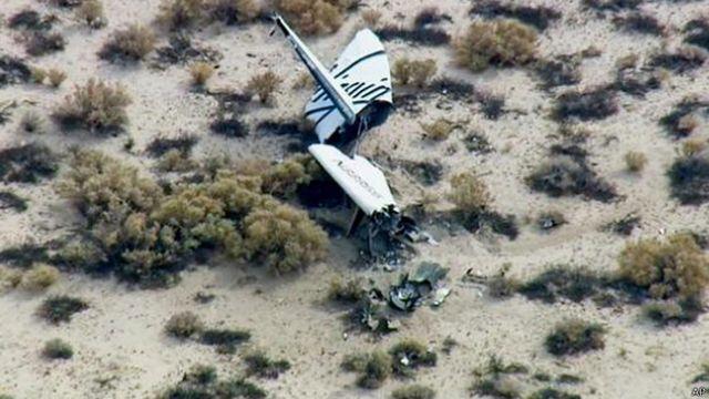 電視播出的從一架直升機上拍攝的畫面似乎顯示一個帶有維珍公司標誌的殘骸。