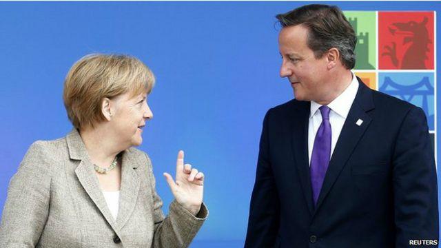 德國總理默克爾與英國首相卡梅倫。卡梅倫信誓旦旦,他一定能為英國拿到英國人想要的。
