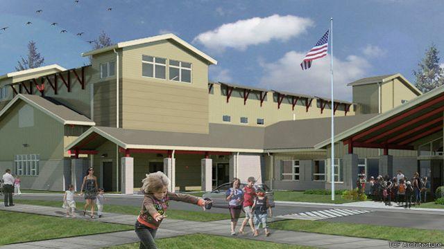Recreación de escuela en el estado de Washington, EE.UU.