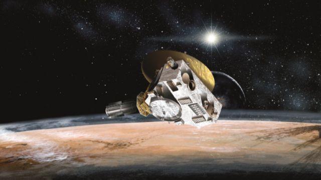 Desenho artístico da missão New Horizon orbitando Plutão