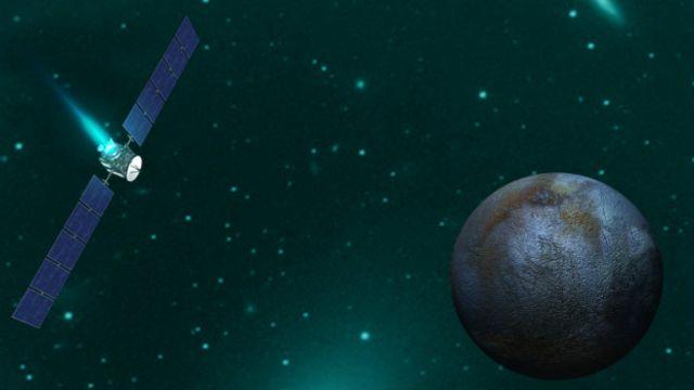 Croquis artístico ilustrando a aproximação da missão Dawn do planeta-anão Ceres