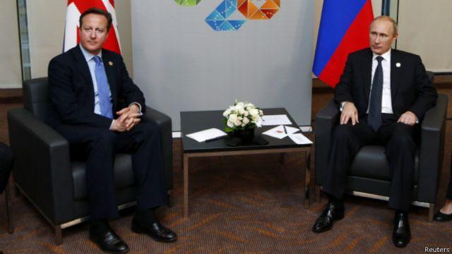 """Лидеры Британии и России Дэвид Кэмерон и Владимир Путин на саммите """"Большой двадцатки"""""""