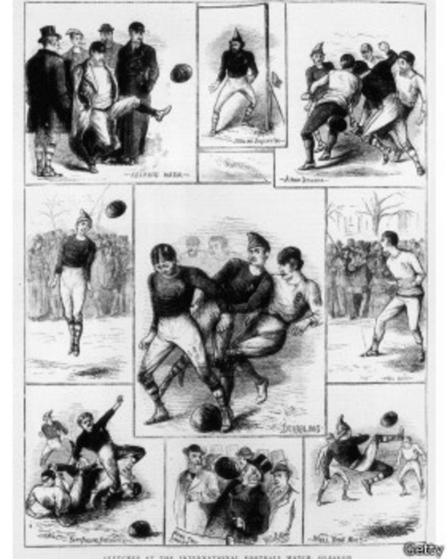 Ilustración del primer partido en 1872 dibujada por W. Ralston.