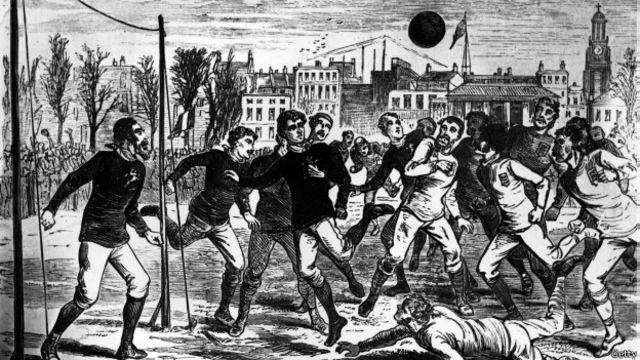 El partido se fue disputando anualmente hasta que fue interrumpido por la I Guerra Mundial. La ilustración correspone a 1878. En total han jugado 111 veces, con 46 victorias inglesas y 41 de Escocia.