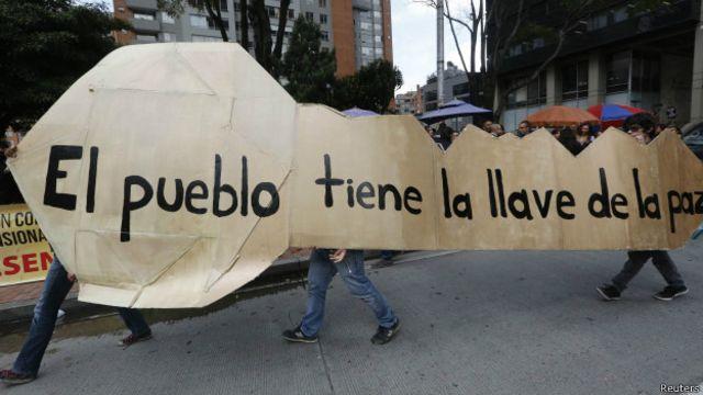 Manifestación por el proceso de paz.