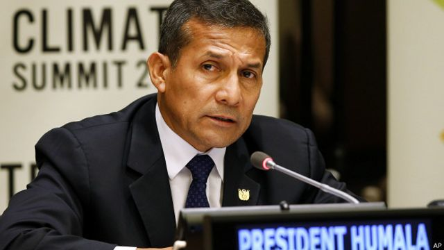 Presidente peruano, Ollanta Humala, durante una cumbre climática.