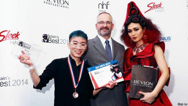 Nhà thiết kế Giap Le trong lễ trao giải thiết kế tóc đẹp nhất Anh Quốc 2014