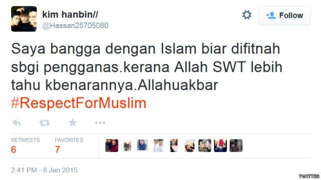 """""""Saya bangga dengan Islam,"""" kata akun @Hassan25705080."""