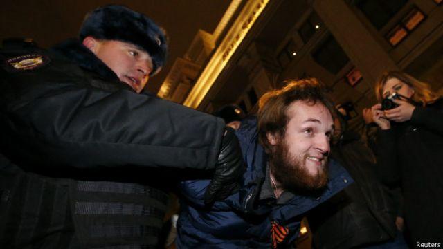 Среди задержанных были три человека с георгиевскими ленточками