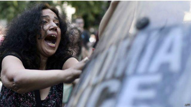 Manifestante en Grecia