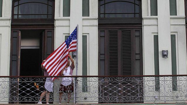 Bandera de EEUU en La Habana