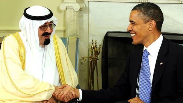 Exjefe de Estado de Arabia Saudita, Rey Abdullah Bin-Abd-al-Aziz Al Saud , junto al presidente de EE.UU., Barack Obama