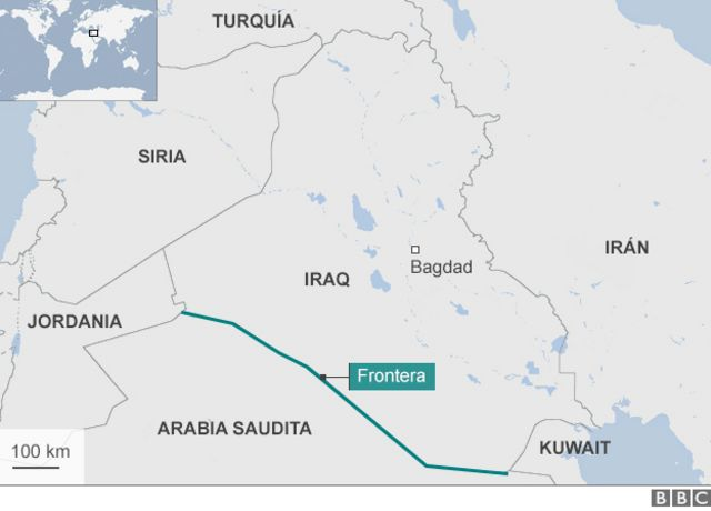 Mapa de Arabia Saudita y países vecinos